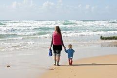 Mom and son having a walk Stock Photos