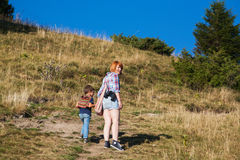 Mom and son hiking Stock Photo