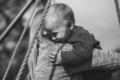 Mom and son hugging Stock Photos