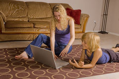 Mom and Son on the laptop Royalty Free Stock Photos