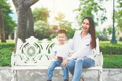 Mom and son laugh. Stock Photos
