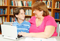 Mom and Son in Library Stock Image