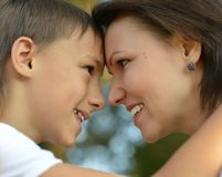 Mom and son. Looking on each other Stock Images