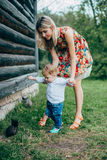Mom and son are looking at the kittens. Mom and son walk in the park outside the city in the evening Stock Photo