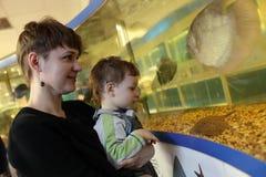 Mom with son at oceanarium Royalty Free Stock Photos