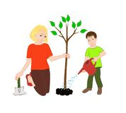 Mom and son are planting a tree. royalty free illustration