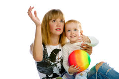 Mom and son playing. In studio Royalty Free Stock Photos