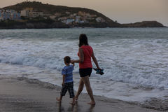 Mom and son on the sea Stock Photo