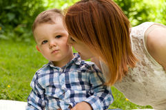 Mom and son spend time together Royalty Free Stock Image