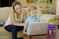 Mom and son spending time together Stock Photography