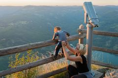 Mom and son on the viewpoint of the Banjska stena on Mount Tara Royalty Free Stock Photo