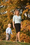 Mom and son walking Royalty Free Stock Photography