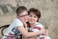 Mom and son. Warm regards mom and son Royalty Free Stock Images