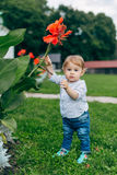 Mom and son watching flowers. Mom and son walk in the park outside the city in the evening Stock Photography