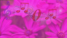 Mom spelled in music notes. 3D illustration. Mom spelled in music notes  on a pink flowery background Stock Photography