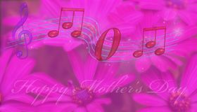 Mom spelled in music notes. 3D illustration. Mom spelled in music notes  on a pink flowery background and the words happy mothers day Stock Image