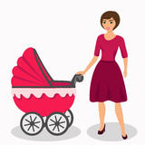 Mom with stroller. Young mother and baby stroller. Illustration of a flat design. Isolated vector illustration Royalty Free Stock Image