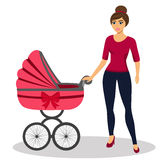 Mom with stroller. Young mother and baby stroller. Illustration of a flat design.  vector illustration Royalty Free Stock Photos