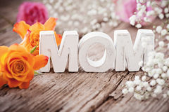 Mom!. Sweet happy mothers Day card Stock Photo