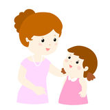 Mom talk to her daughter gently cartoon  Royalty Free Stock Images