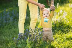 Mom teaches son walking grass Royalty Free Stock Photo