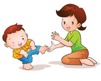 Mom teaches son wear pants. Lovely Royalty Free Stock Images