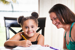Mom teaching daughter Royalty Free Stock Photography