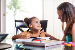 Mom teaching daughter. Mother and daughter at home. Mom teachs little girl homework Stock Image