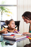 Mom teaching daughter. Mother and daughter at home. Mom teachs little girl homework Royalty Free Stock Image