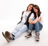 Mom and teen daughter perfect relationship Stock Images