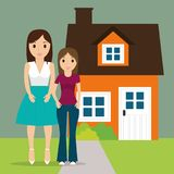 Mom with teenage daughter new house stock illustration