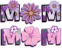 Mom Text 1. Vector Illustration of Mom Text 1 in two versions. I am also selling the Floral pattern separately Royalty Free Stock Image