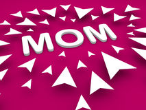Mom text with arrow, happy mothers day concept Royalty Free Stock Photos