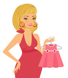 Mom to be shopping for baby girl Stock Photography