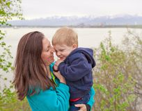 Mom with toddler boy Royalty Free Stock Image