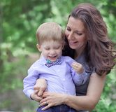 Mom with toddler boy Stock Photo