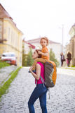 Mom is traveling with the child. Royalty Free Stock Photos