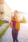 Mom is traveling with the child. Stock Photography