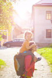 Mom is traveling with the child. Royalty Free Stock Image
