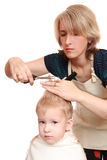 Mom trim child Stock Image