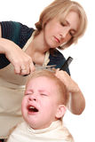 Mom trim child Stock Photography