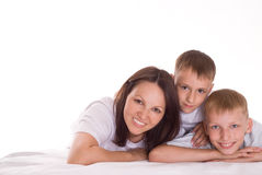 Mom with two children Royalty Free Stock Photos