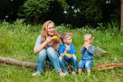 Snack on the nature. Mom with two children sitting in the woods on a fallen tree trunk and eating corn Stock Image
