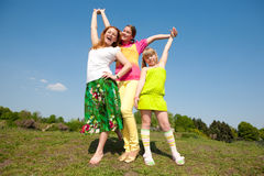 Mom and two Daughter Having Fun Stock Photo