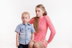 Mom unhappy with the behavior of his son Royalty Free Stock Photos