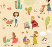 Mom on a walk with their children, cute pattern Stock Photos