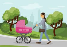 Mom walking with pram outdoors. Mother with pink baby carriage outdoors. Mom walking with pram in the city park. Vector illustration stock illustration