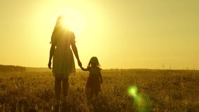 Mom walks on field with her little daughter in sunset. baby holds mom`s hand, a happy family walks in evening out of stock footage