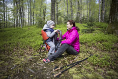 Mom walks in the forest with a child, a child in the children carry. Stock Photos