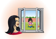 Mom watching her daughter playing in the garden. Cartoon style illustration: a young smiling mother is watching her happy daughter playing in the garden with her Royalty Free Stock Photo